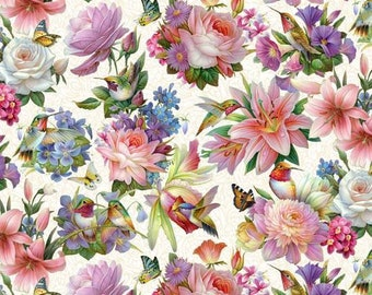 Floral Fabric - Hummingbird Bouquet - Oleg Gavrilov for Elizabeth Studio Fabric - 9402 multi - Priced by the half yard