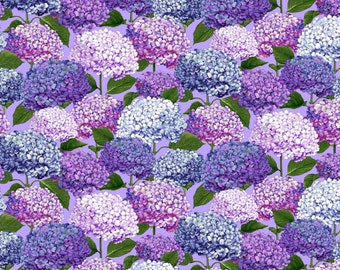 Hydrangea fabric - Dragonfly Garden collection by Color Principle for Henry Glass - 2470  75 Periwinkle - Priced by the 1/2 yard