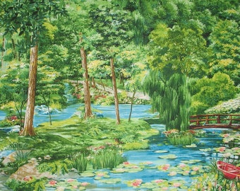 Green Summer Day - Summer Landscape - Cypress Garden - Water Lily - Landscape Collection Michael Miller DC 4169 - Priced by the 1/2 yard