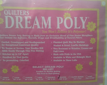 "Quilters Dream Poly - Midloft. Queen Package 108""x93"" Quilters Dream Batting - Medium Loft"