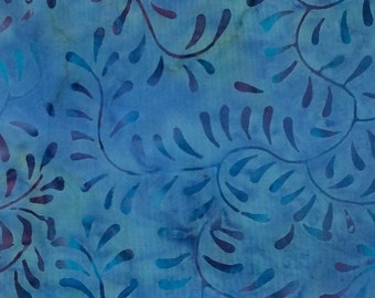Leaf Batik Fabric - Artisan Indonesian from Majestic Batiks - CB 155 Blue,  Priced by the 1/2 yard