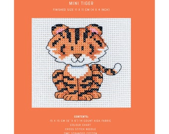 Mini Cross Stitch Kit - Tiger - TUVA Publishing MCS08 - Sold by the Each