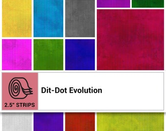 Dit-Dot Evolution Strip Roll Fabric - Blender Fabric - Marble Fabric - In the Beginning Fabric -  DDE Rainbow - (40) pieces per roll