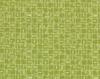 Closeout - Road 15 Street Map Fabric - One Way by Sweetwater for Moda Fabrics 5524 13 Pickle Green - Sold by the YARD
