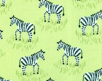 Zebra Fabric, Green & Black Fabric - From Citron Gray Collection by Michael Miller CX 6549 Lemon Gray - end of bolt 27 Inches