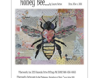 "Honey Bee -  Laura Heine - Applique Quilt - Bee quilt 45""x36""  DIY Pattern Or Kit Option - full size reusable template pattern"