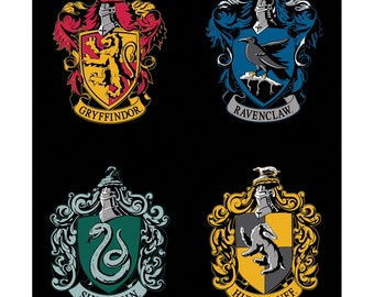 Harry Potter Hogwarts Crests - Gryffindor Ravenclaw Hufflepuff  Slytherin - Wizarding World -  Camelot Fabric - 23800156P - 36-Inch Panel