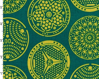 Kokka Fabric, Medallion Fabric -  Manhole - Wanderlust by Thomas Knauer 50600 604 C - Teal - Priced by the 1/2 yard