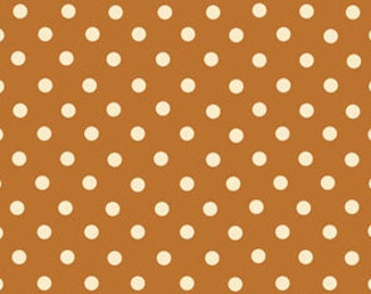 Polka Dot Fabric - Tan - All About Coffee Polka Dots on Latte by Exclusively Quilters for Classic Cottons 3917 60580 4 - 1/2 yard