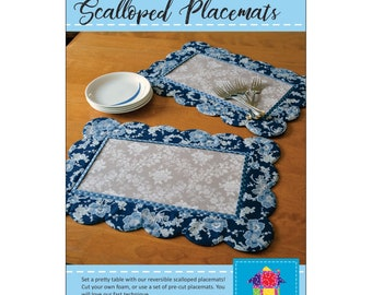 Scalloped Placemat Pattern - Poorhouse Designs - DIY Pattern - Bosal Interface sold separately