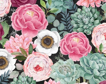 Botanical Oasis - Packed Flowers Succulents - By Anne Rowan for Wilmington Prints - 3007 68518 973 Black - Priced by the Half Yard