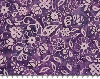 Tossed Floral Fabric - Banyan Batik French Macaroon Northcott  80124 84 Purple - Priced by the 1/2 yard