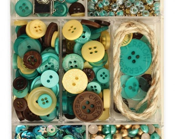 Embellishment Kit, Buttons Galore, Ribbon & Buttons - Let's Go-  28 Lilac Lane by May Flaum LL114