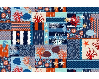 Nautical Fabric - Indo Ikat Collage by Michael Miller DC6279-INDI-D Indigo Blue - Priced by the half yard