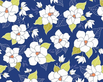 Magnolia Fabric - Lula Magnolia Main by Quilted Fish for Riley Blake Designs C3770 Blue - Priced by the 1/2 Yard