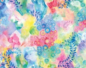 Gradients floral Fabric - Digital Fabric - BasicGrey for Moda Fabrics - 33366 11D Rainbow - priced by the half yard