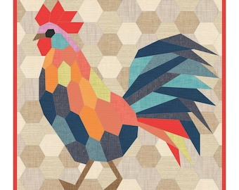 "Rooster English Paper Piecing Pattern by Violet Craft VC 026 - finishes 20""x20"" block - Templates & Instructions ONLY"