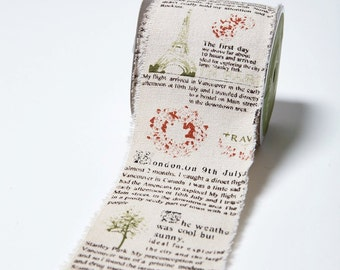 Travel Ribbon - 2.5 Inch Cotton Blend w/ Vintage Inspired Print -  468 25 33 - Priced by the Yard
