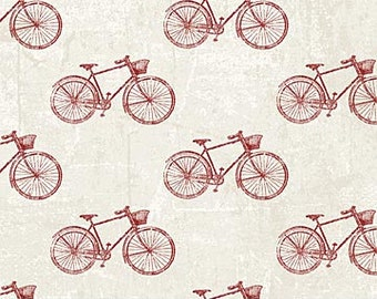 Bicycle Fabric -  From Paris  Always a Good Idea collection - Northcott - 22360-12 Red - priced by the half yard
