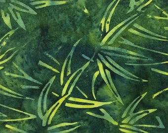 Bamboo Batik Fabric - Artisan Indonesian from Majestic Batiks - CB 371 - Green, Priced by the 1/2 yard