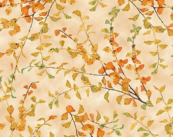 Fall Foliage, Autumn Shimmer by Lynnea Washburn for Quilting Treasures - 26540 E Espresso Priced by the 1/2 yard