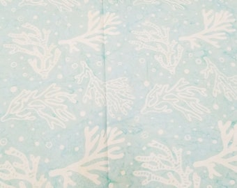 Coral Batik - Cream on Teal -   Coastal Chic - Maywood Studio MAS B22 021 Light Teal (Mint)  - Priced by the half yard