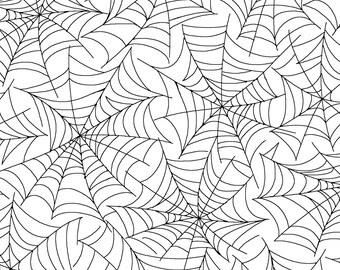 Spider Web Fabric - Halloween Fabric - Broomhilda's Bakery by Kim Christopherson - Maywood Studio MAS 8215-White -  Priced by the half yard