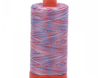 Aurifil 50wt thread - Cotton 3-color Liberty - Red White Blue Variegated - 3852 - 50wt Mako, 1422 yards