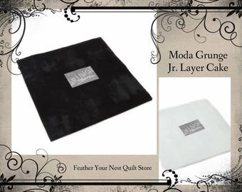 Grunge Fabric - Junior Layer Cake, 10-Inch Square Moda Fabric 30150 JLC White or Black - (20) precut squares