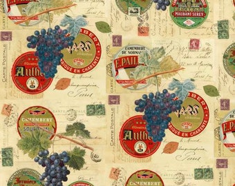 Wine Fabric - Wine & Cheese Label Fabric by Whistler Studios for Windham Fabrics 34194 X - Priced by the 1/2 yard