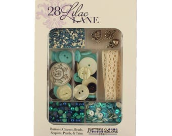 Embellishment Kit, Buttons Galore, Ribbon & Buttons - Attic Findings 28 Lilac Lane by May Flaum LL103
