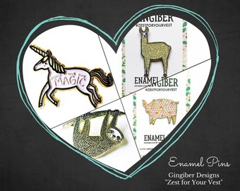 Enamel Pins - Gingiber Animal Pins - Gingiber Critters by artist Stacie Bloomfield - Sold by the each