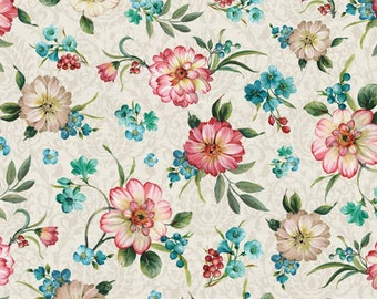 Peacock Floral - Spring Flower - Majestic Birds Collection Designed by Lisa Audit - David Textiles LA-0081-6C-1 - Priced by the 1/2 yard