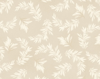 Leaf Fabric - Tonal Leaves Blender Fabric - Fruitful Life by Maywood Studios MAS 9325 Ivory - Priced by the 1/2 yard