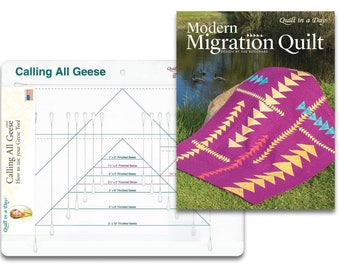 All-in-One Flying Geese Ruler - Calling All Geese by Quilt in a Day - 2042 QD Acrylic Ruler - Includes Migration Pattern Book