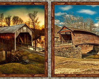 Covered Bridge Fabric, Bridge Fabric - Artworks VII - Larry Hershberger -  26435 - Priced by the Panel