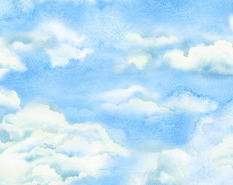 Cloud Fabric - Sky Fabric - Landscape Fabric - Beach Holiday - Timeless Treasures Fabric - C 6534 - Priced by the half yard