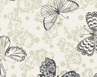 C'est La Vie - Butterfly -  Paintbrush Studio - 120 13042 Ecru - Priced by the 1/2 yard