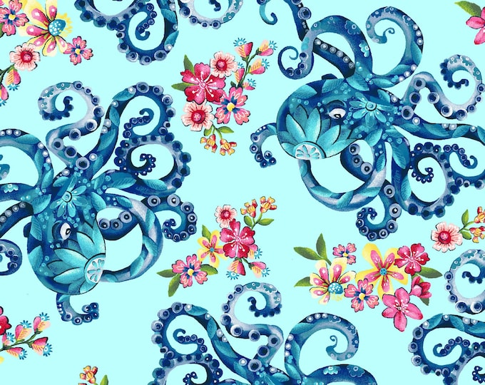 Featured listing image: Octopus Garden - Blooming Ocean - Pam Vale for Studio E - 5403 17 Blue - Priced by the Half Yard