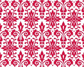 Damask Print Fabric from Black Tie Boogie by Sandy Clough for Red Rooster 24272 White/Red - Priced by the 1/2 yard
