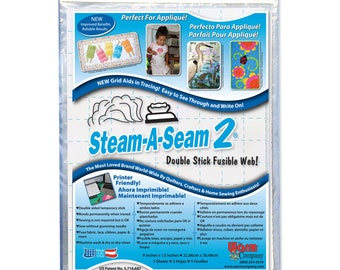 Steam A Seam 2 Warm Company double stick fusible web - Medium weight - Precut Sheets 9x12 inch, 5 per pack - 5117 White - Applique