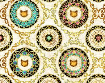 Cat Fabric - Cat Medallion - Purr-Suasion - Dan Morris Quilting Treasures - Cat Diamond 26647 Cream - Priced by the half yard
