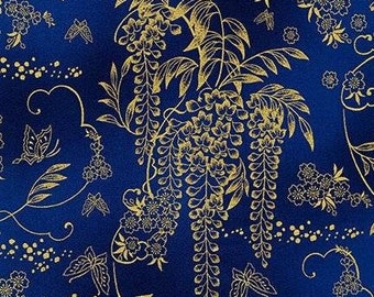 Imperial collection 15 - Floral spray - Kaufman 18624 9 Navy with gold metallic - priced by the half yard