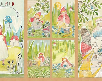 Red Riding Hood fabric, The Real Story -  Cori Dantini,  - 112 109 01 1 - Priced by the 24-Inch Panel