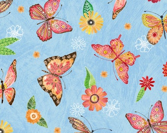 Floral Flight - Butterfly - MJ Merrill  Wilmington Prints - 11157 437 Blue - Priced by the half yard