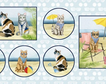 Cat Fabric - Panel Cat Beach Fabric - Summertime Cats - Coastal Kitty by P&B Textiles World Art Group 3063  - Priced by the Panel