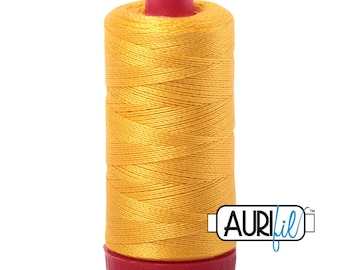 Aurifil 12wt Thread - Cotton Embroidery & Quilting Thread 12 wt - 100% cotton - Yellow 2135