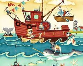 Pirate & Mermaid Fabric -  Salty Dog by Geoff Allen - Studio E - 4700  - Priced by the Panel 24-Inches