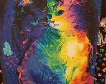 Cat - Rainbow - Meow Za for Timeless Treasures by Chong-a Hwang C7484 - Priced by the 24-Inch Repeat