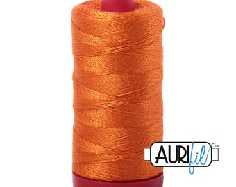 Aurifil 12wt Thread - Cotton Embroidery & Quilting Thread 12 wt - 100% cotton - Orange Pumpkin 2150